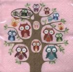 Cocktail - Owl family tree pink