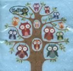 Cocktail - Owl family tree blue