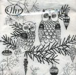 IHR Owl ornament whtie black