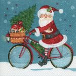 Santa on bike blue