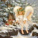 Little angel with cat