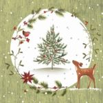Fawn with Christmas tree green