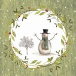 Snowman with tree green