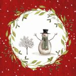 Snowman with tree red