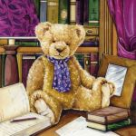 Teddy in library