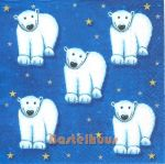 Five Polar bears blue