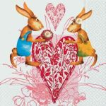 Rabbits in love white