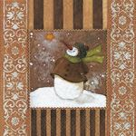 Snowman in love brown